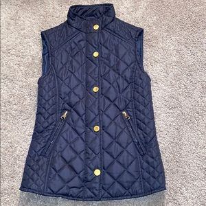 Girls 7 vest jacket navy blue spring lightweight
